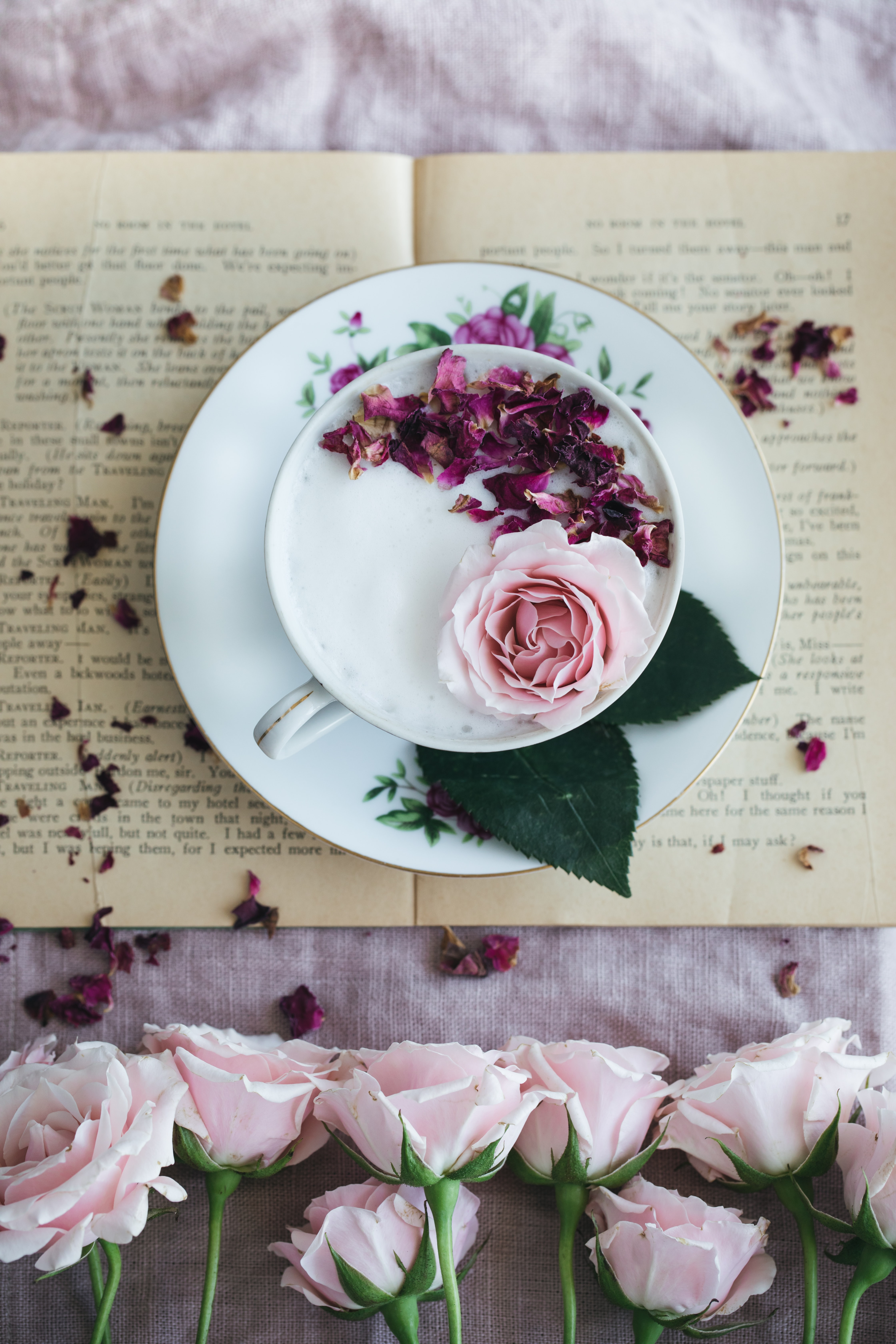 round white and pink floral plate