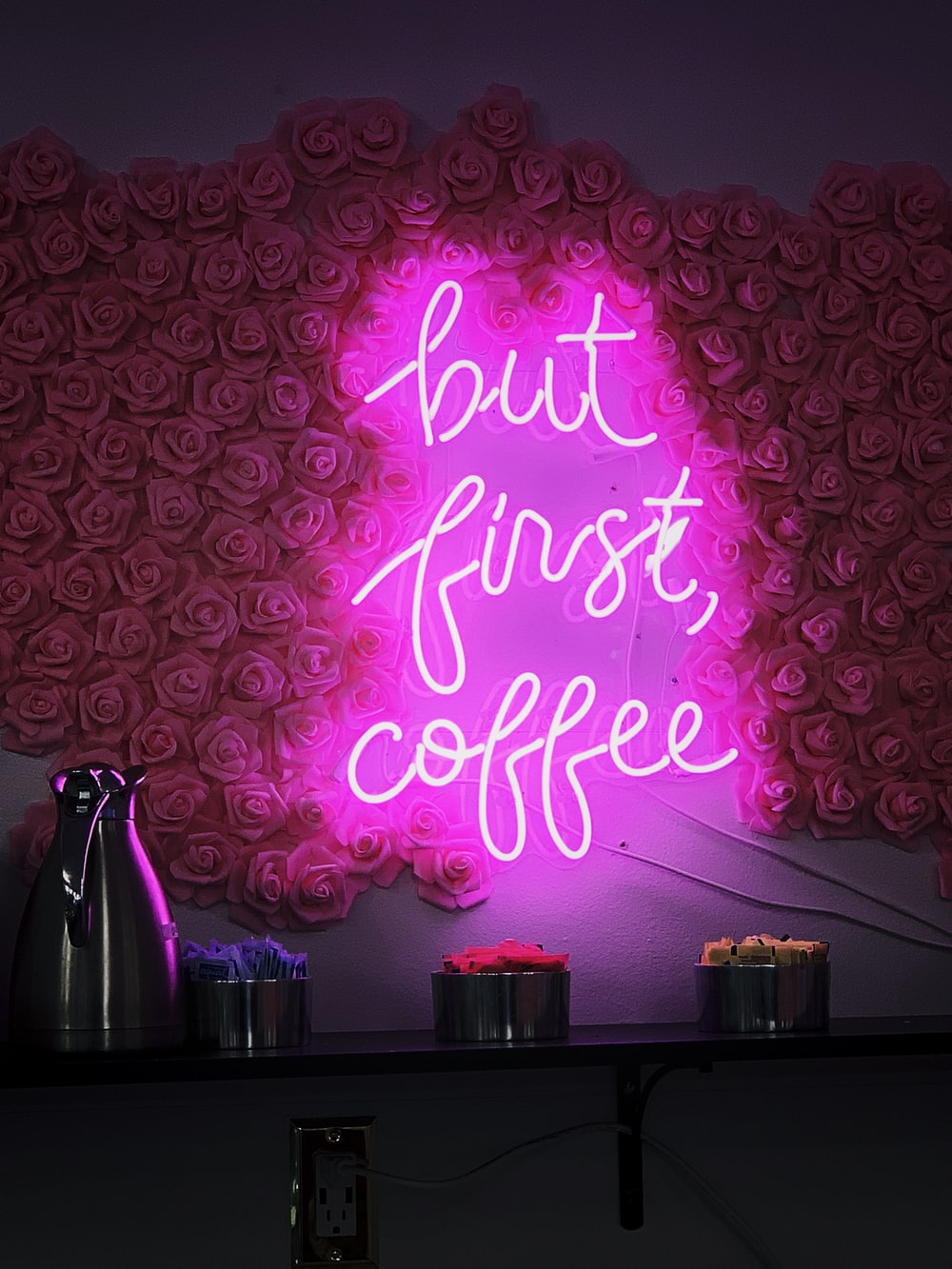 pink but first, coffee neon sign