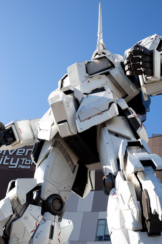 white Gundam Robot statue