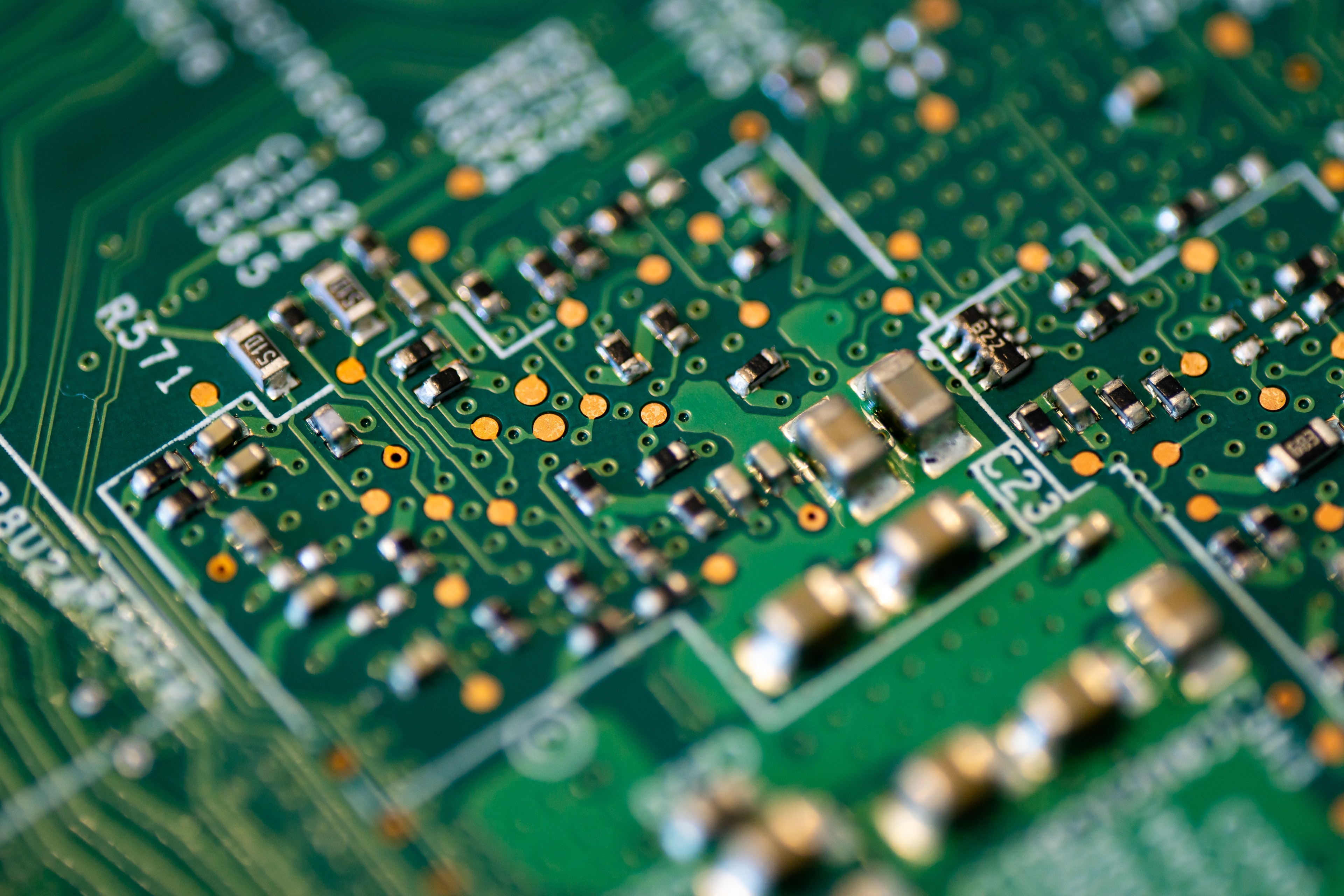 green and white circuit board