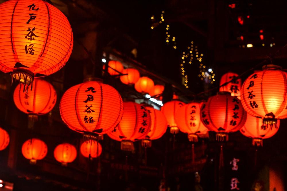 white-and-orange Chinese lantern lot