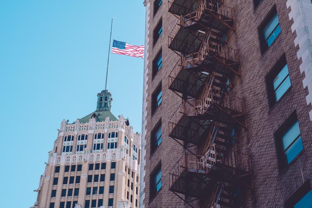 flag on building polw