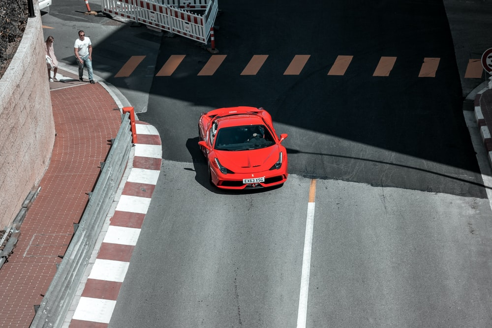 red car on street