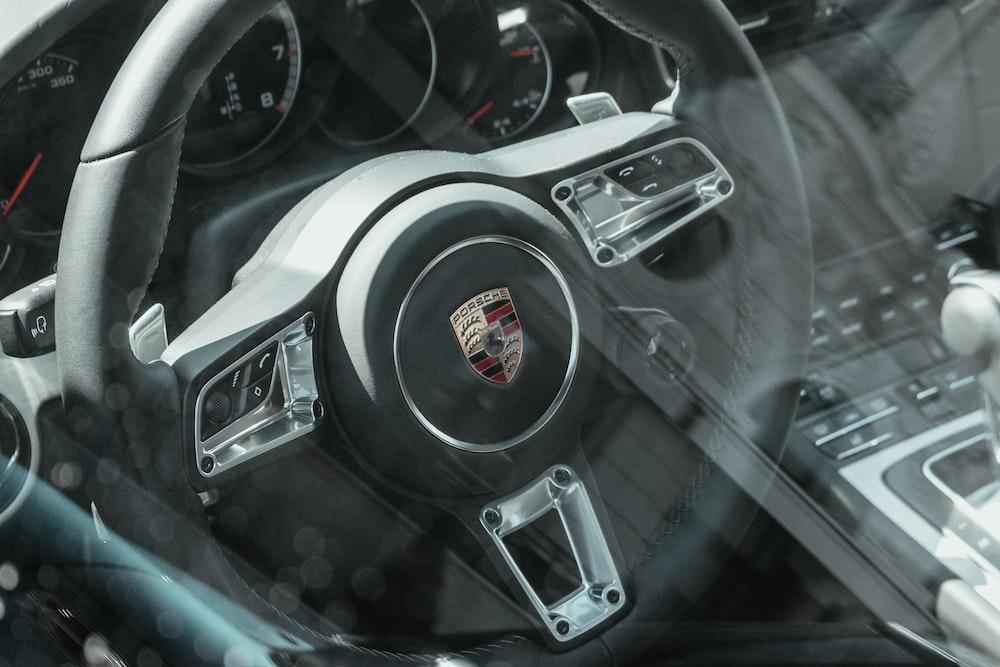 black car leather steering wheel