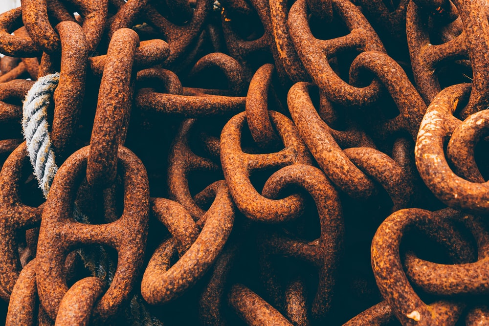 view of stained metal chain