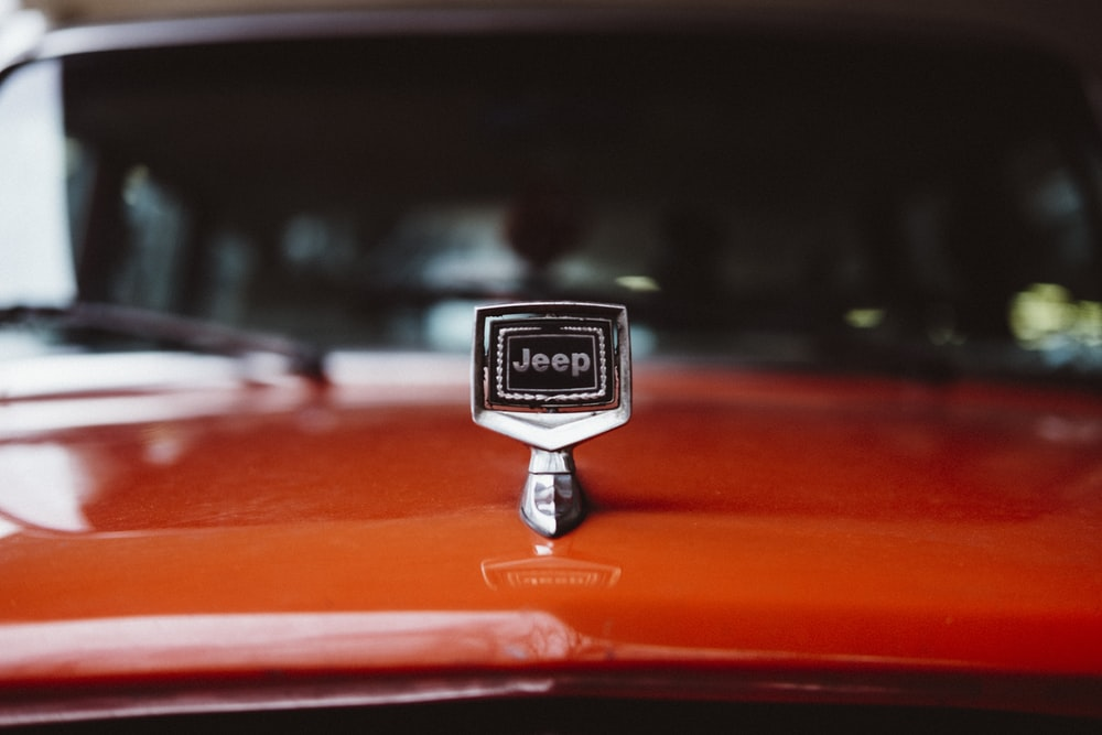 chrome Jeep emblem on hood