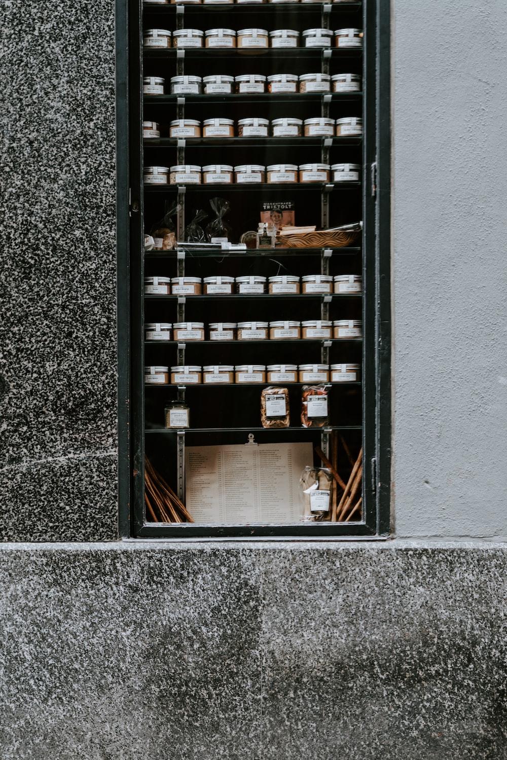 jars on rack