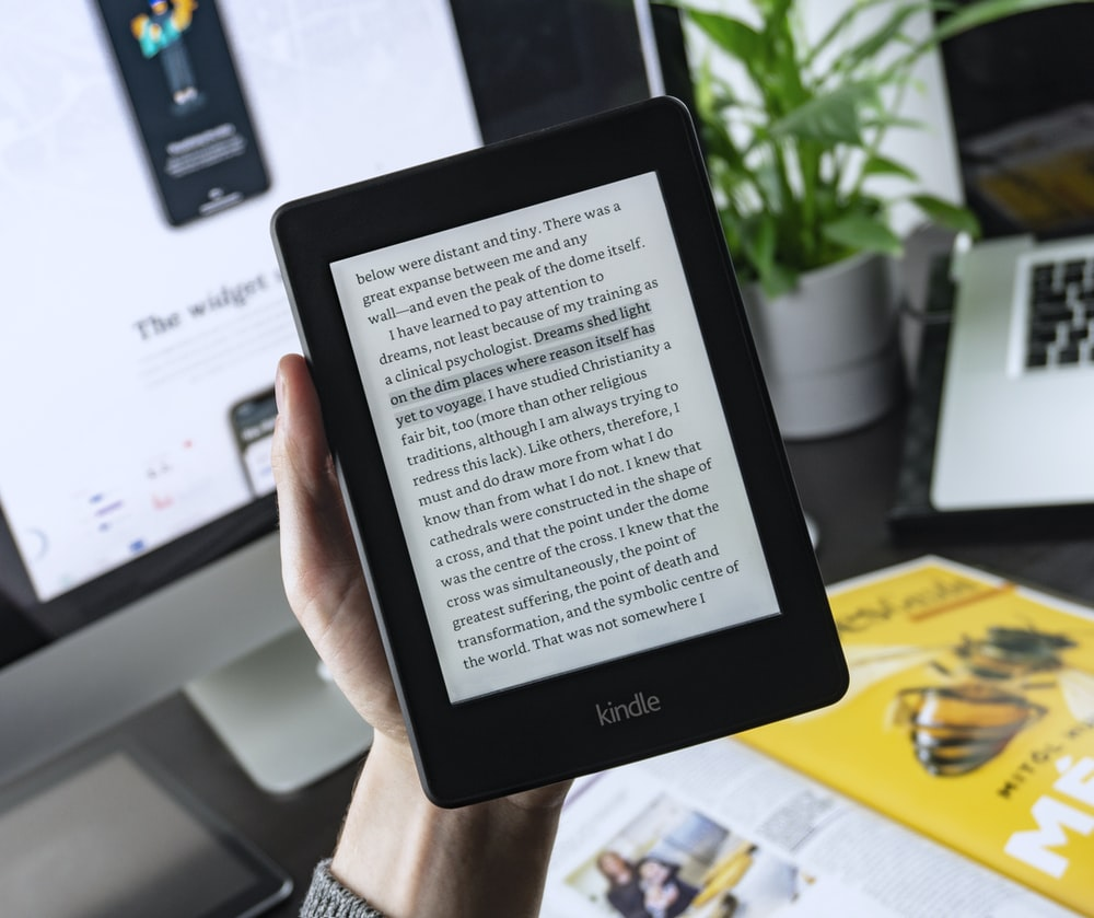 turned-on Kindle tablet