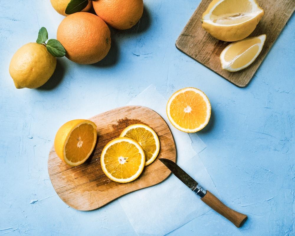 slice orange fruits