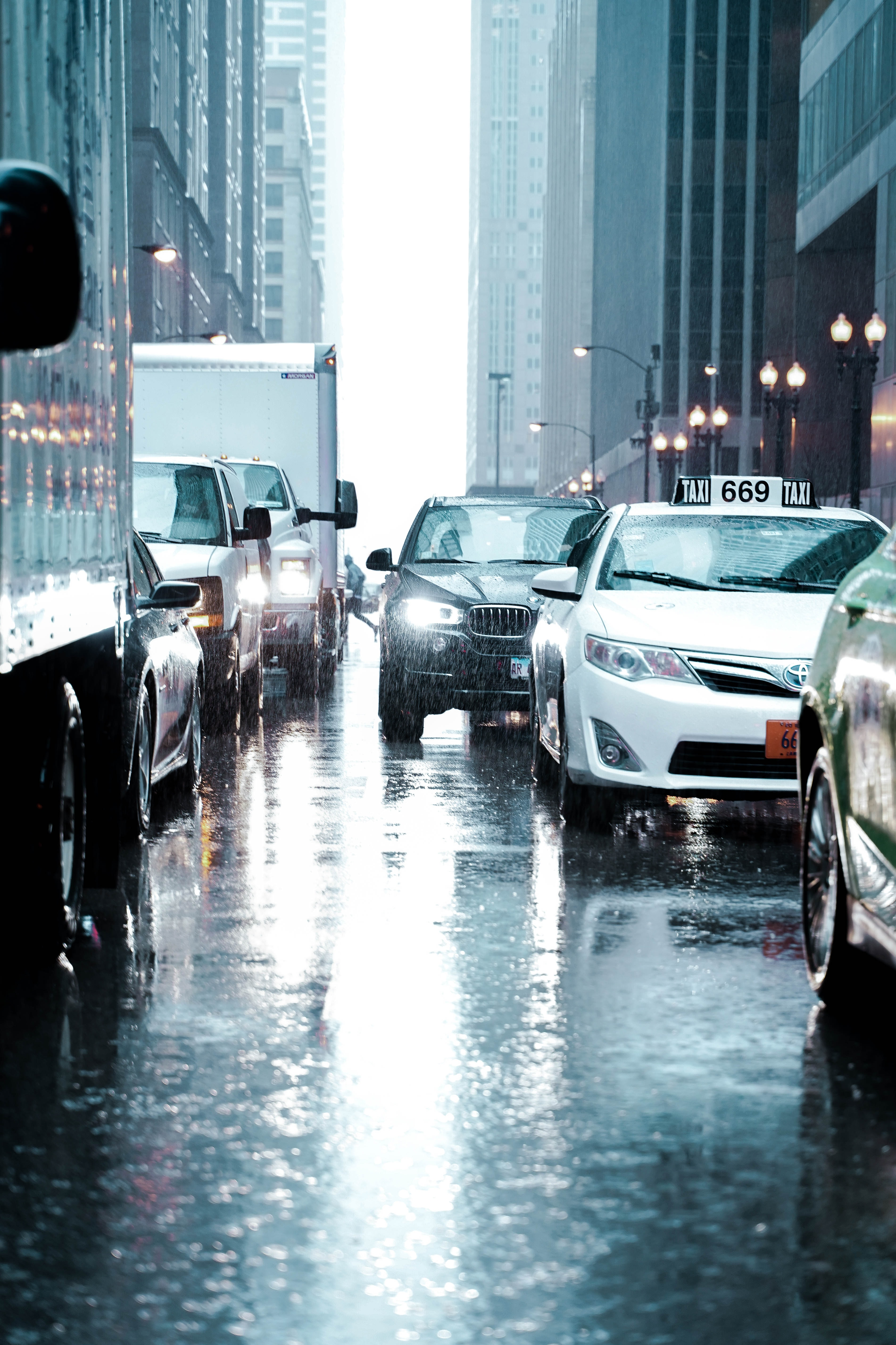 vehicle stuck in traffic during rainy day