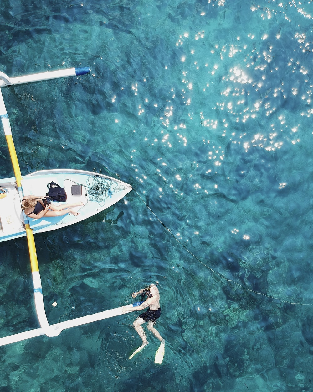 two person in boat top-view photography