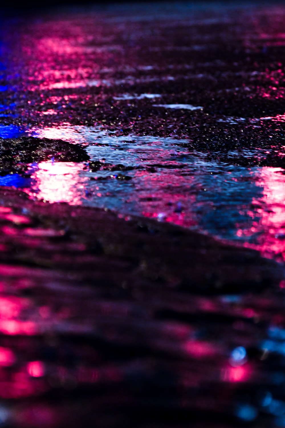 pink and blue lights reflect on the road