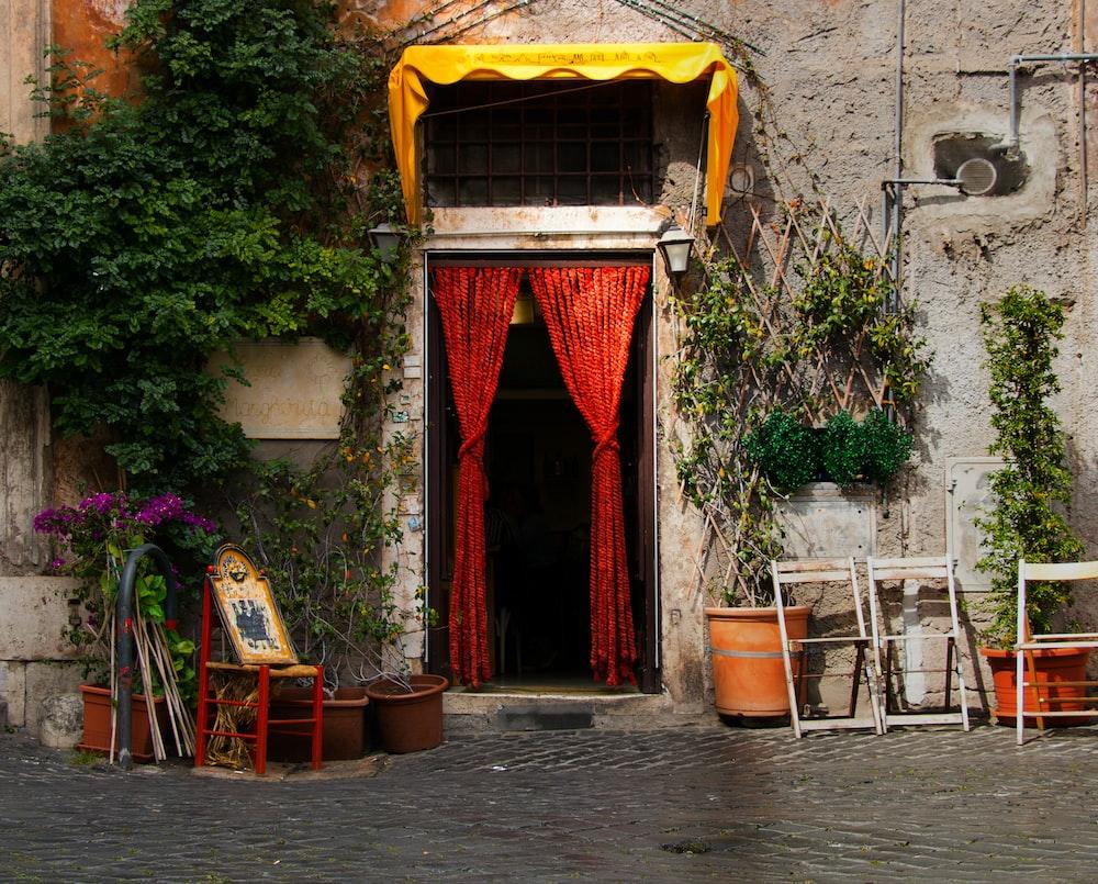 red curtain on doorway