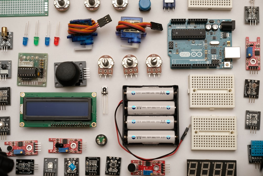 flat lay photography of circuit board