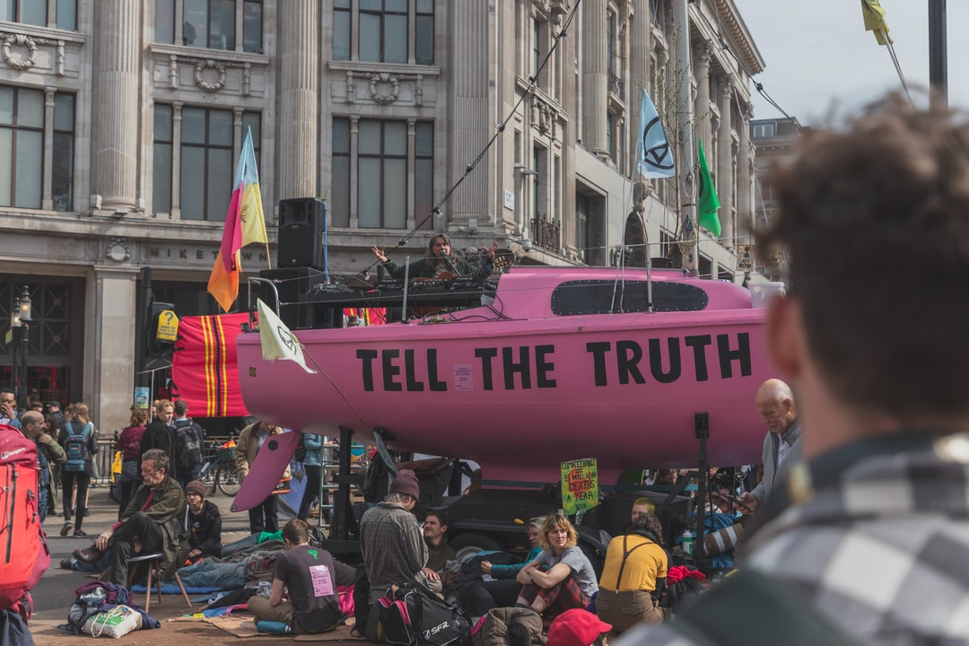 A series of photos taken during the protests against global warming. TELL THE TRUTH!
