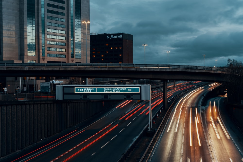 road at night long exposure photography