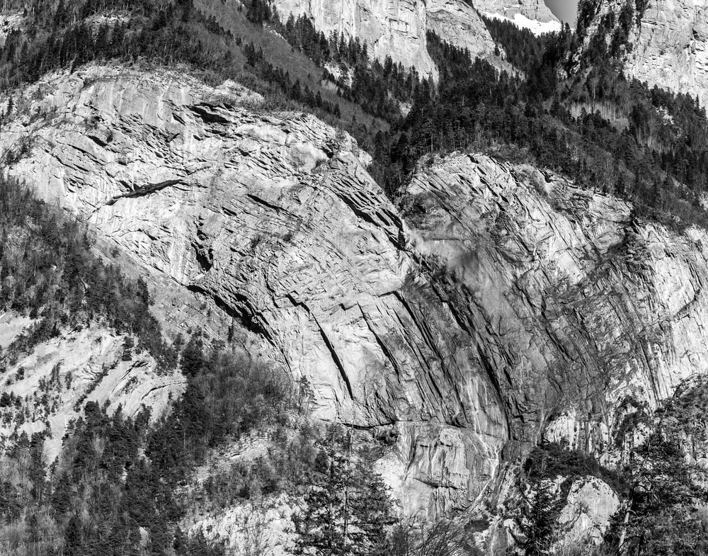 high-angle photography of mountain and trees
