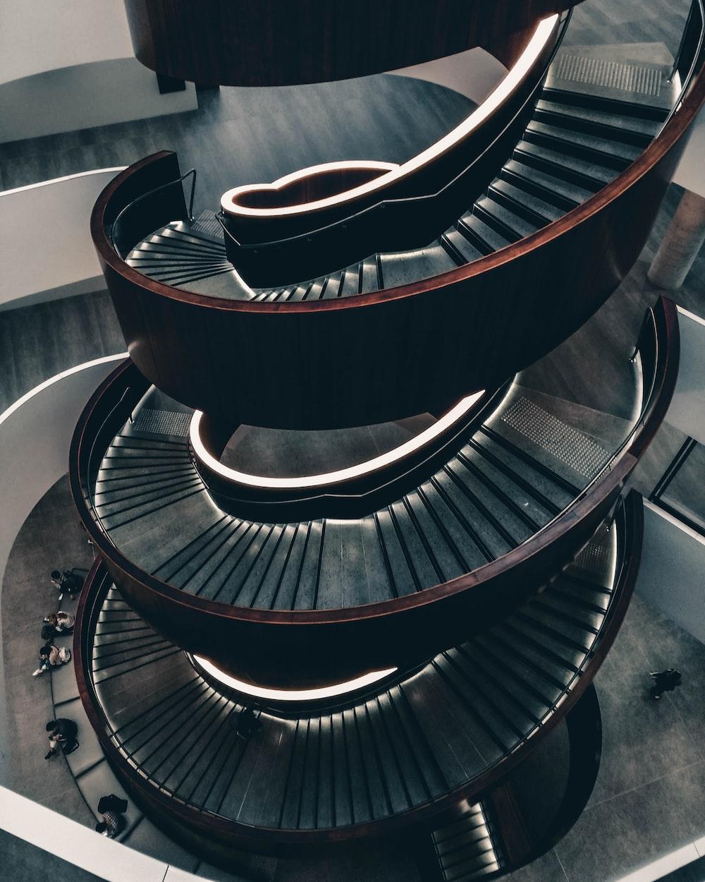 brown spiral stair