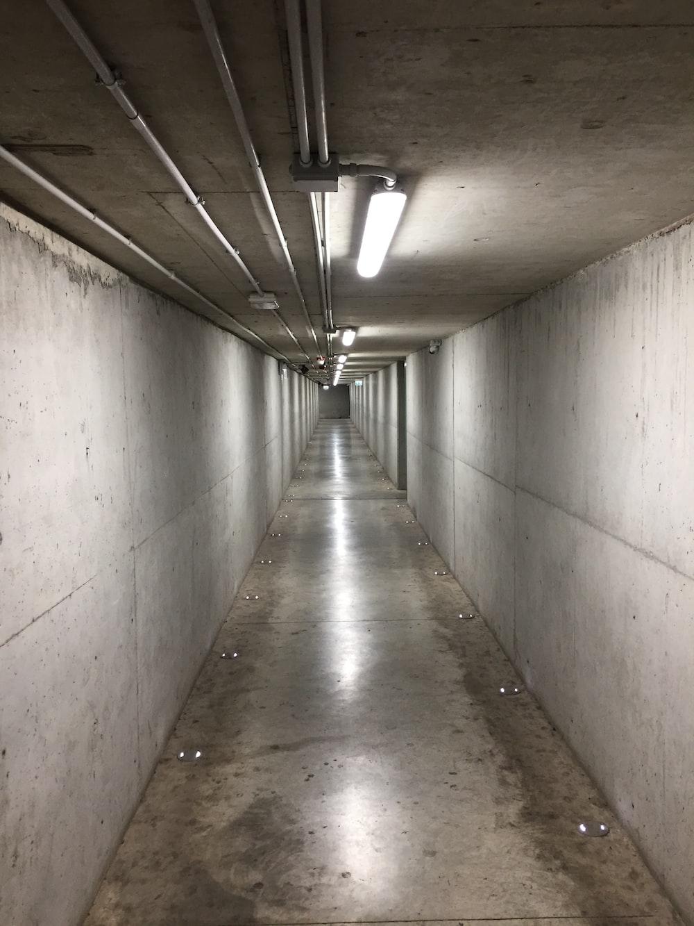 turned-on lights in hallway