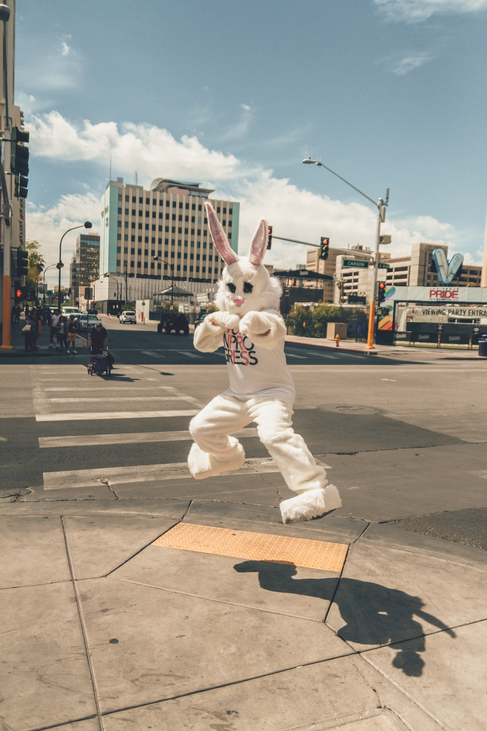 person in rabbit mascot jumping near road side