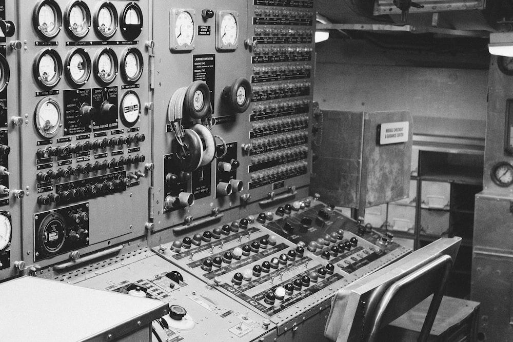 grayscale photo of audio mixer