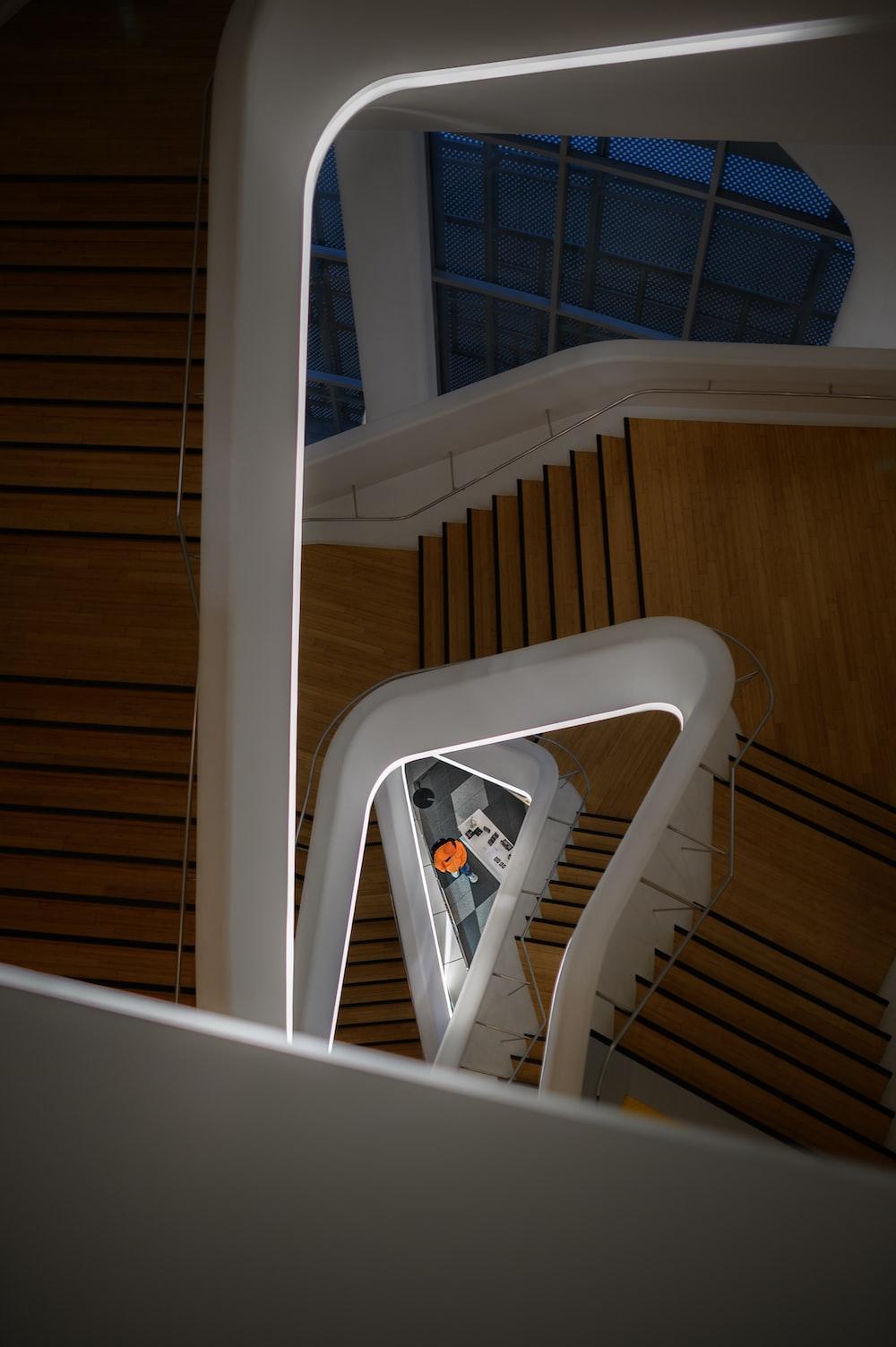 spiral wooden stairway