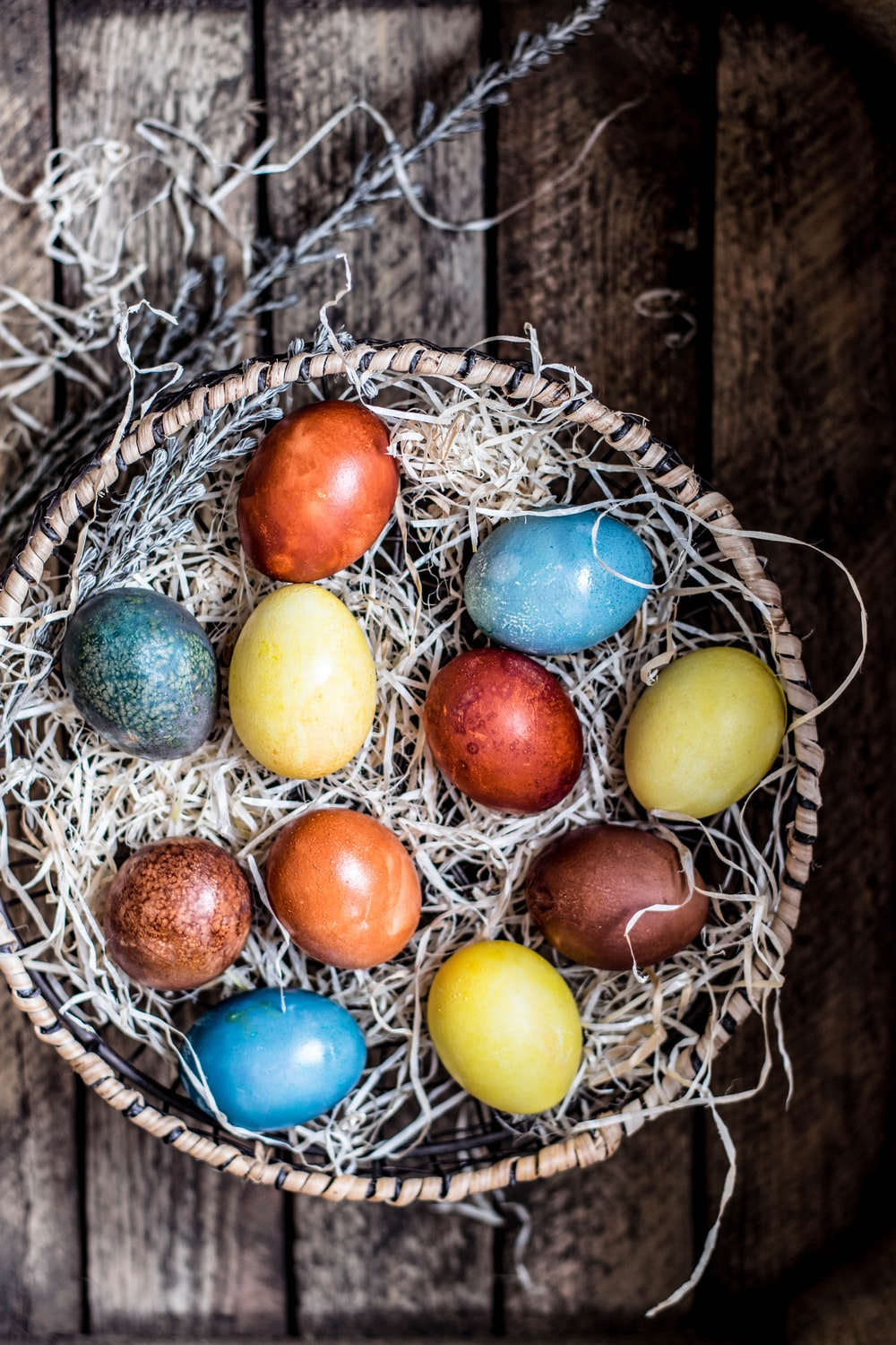 assorted-colored eggs