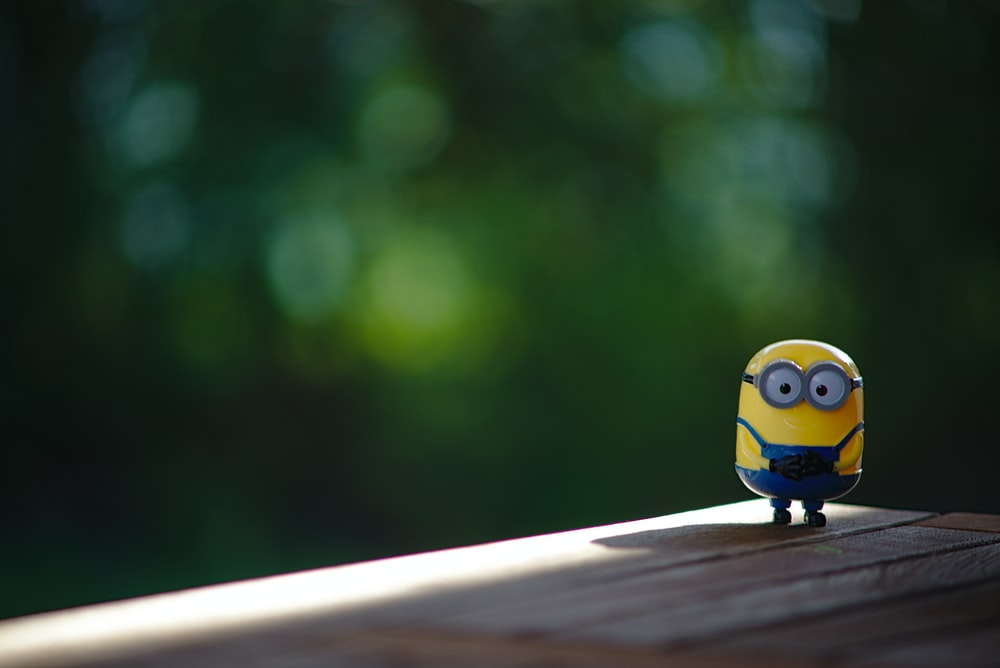 Minions toy on railings