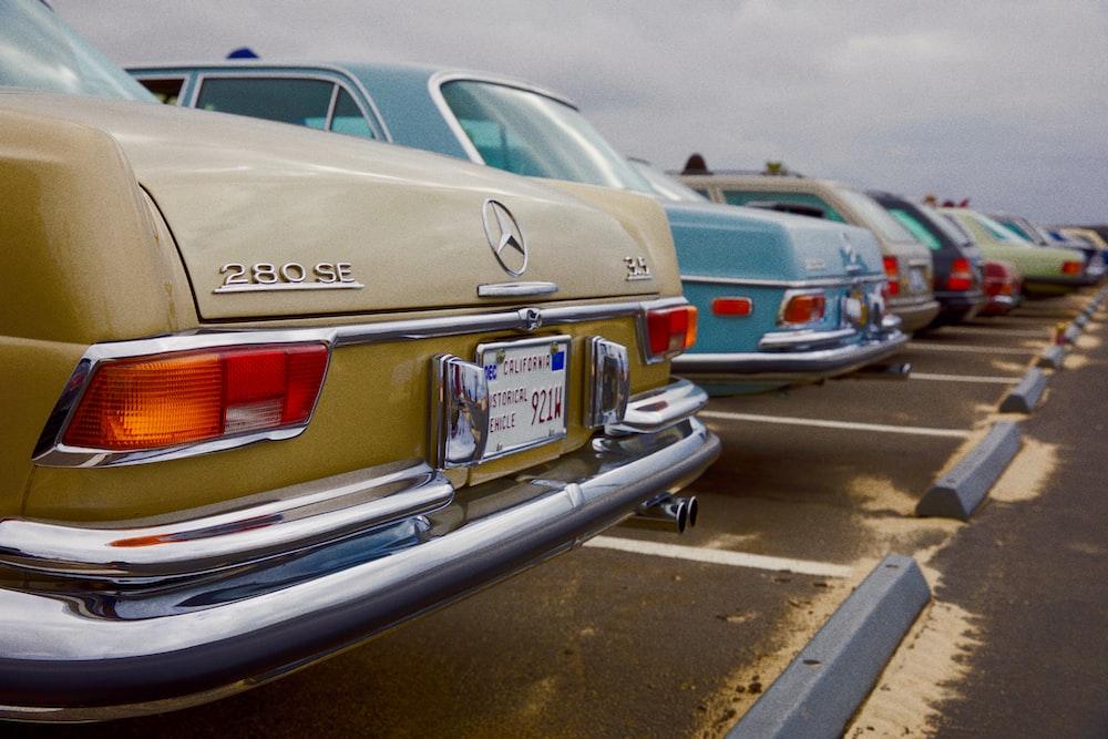 beige Mercedes-Benz classic vehicle