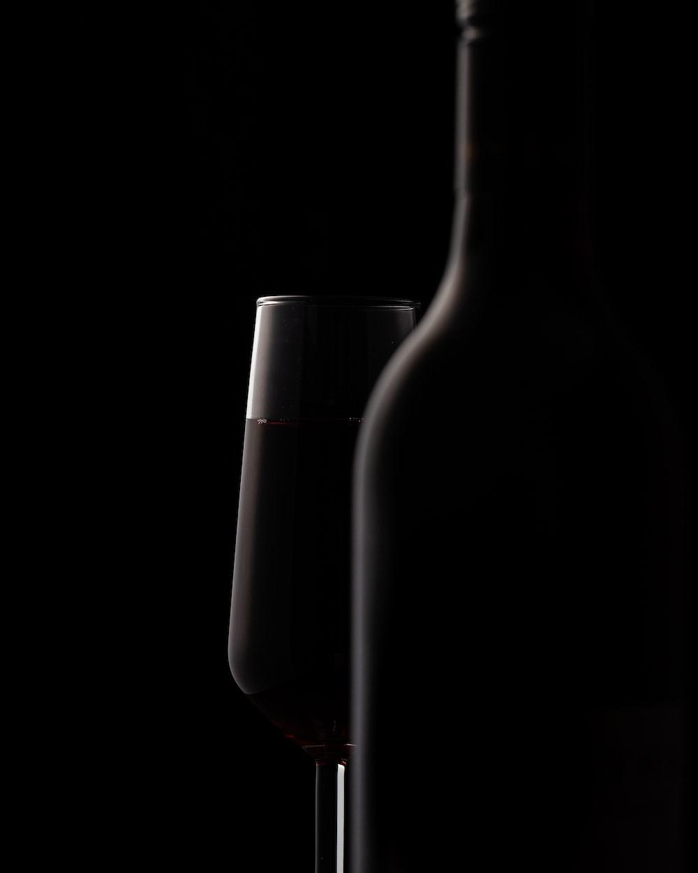 wine glass behind bottle