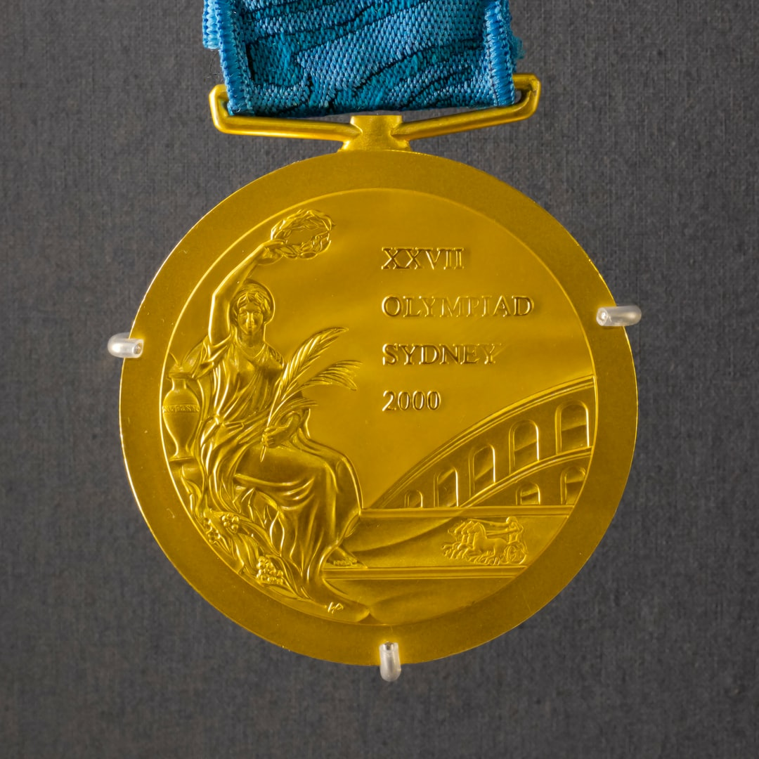 Sydney Olympic 2000 gold medal displayed at the Royal Australian Mint in Canberra, ACT, Australia