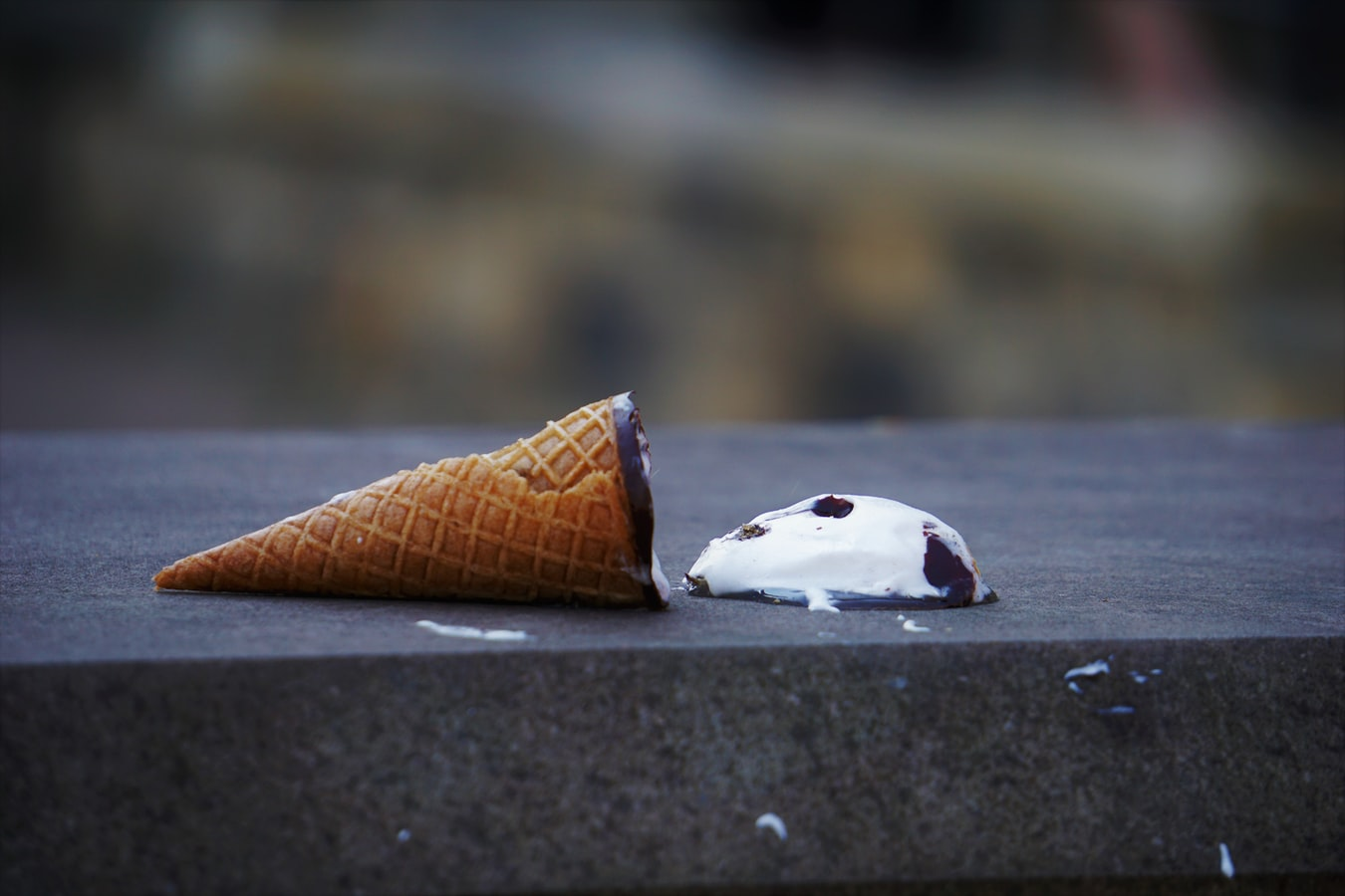 Ice cream that's fallen out of its cone