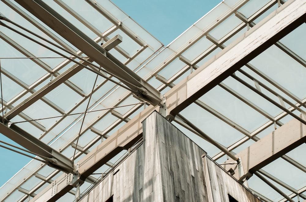 white steel building beams\
