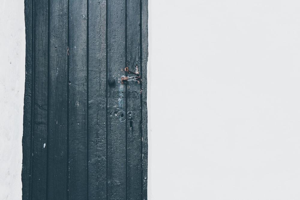 black wooden door