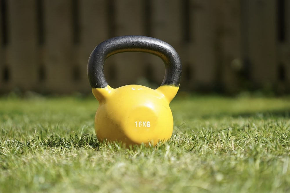 yellow and black kettle bell