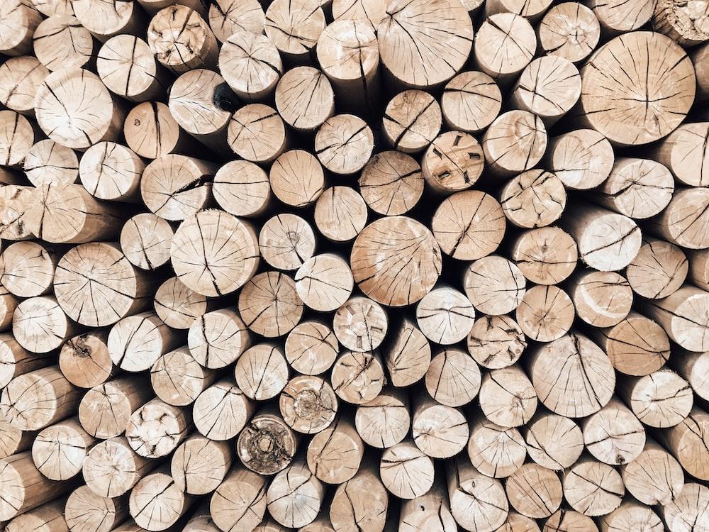 brown wooden log lot