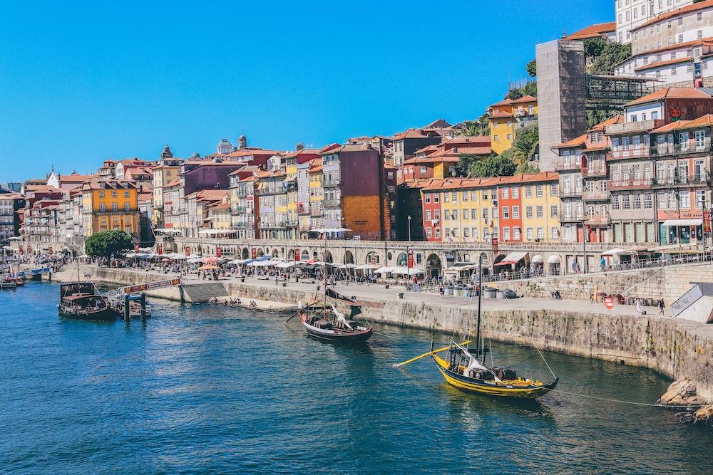 boats docked near seaside promenade]