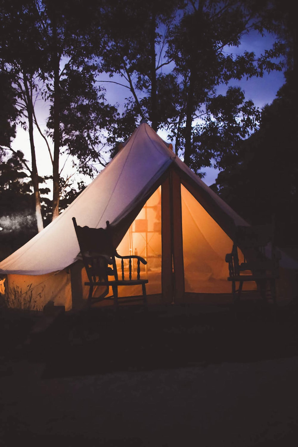 white and brown teepee tent