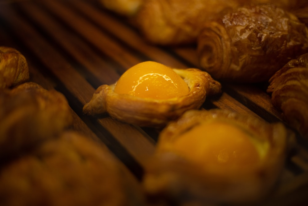 baked breads in closeup photography