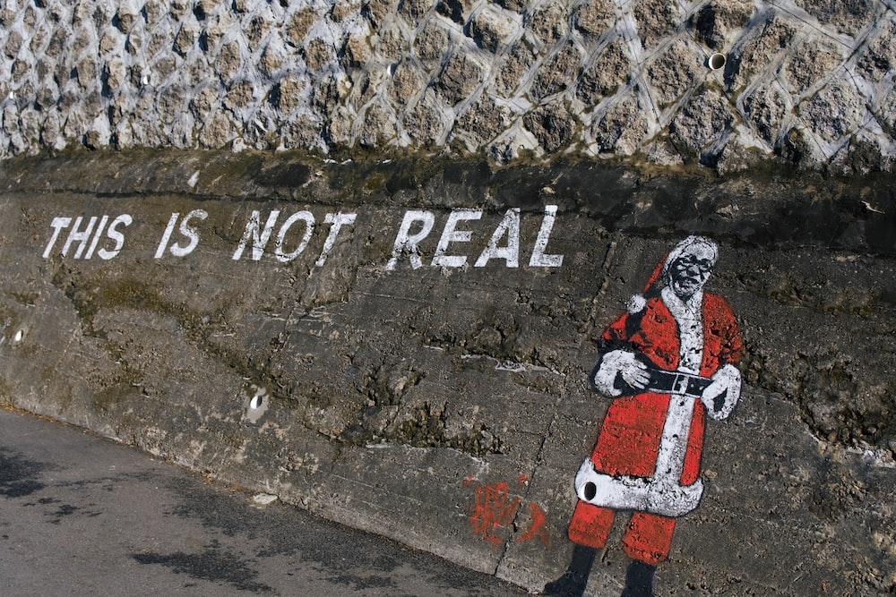 Santa paint on wall