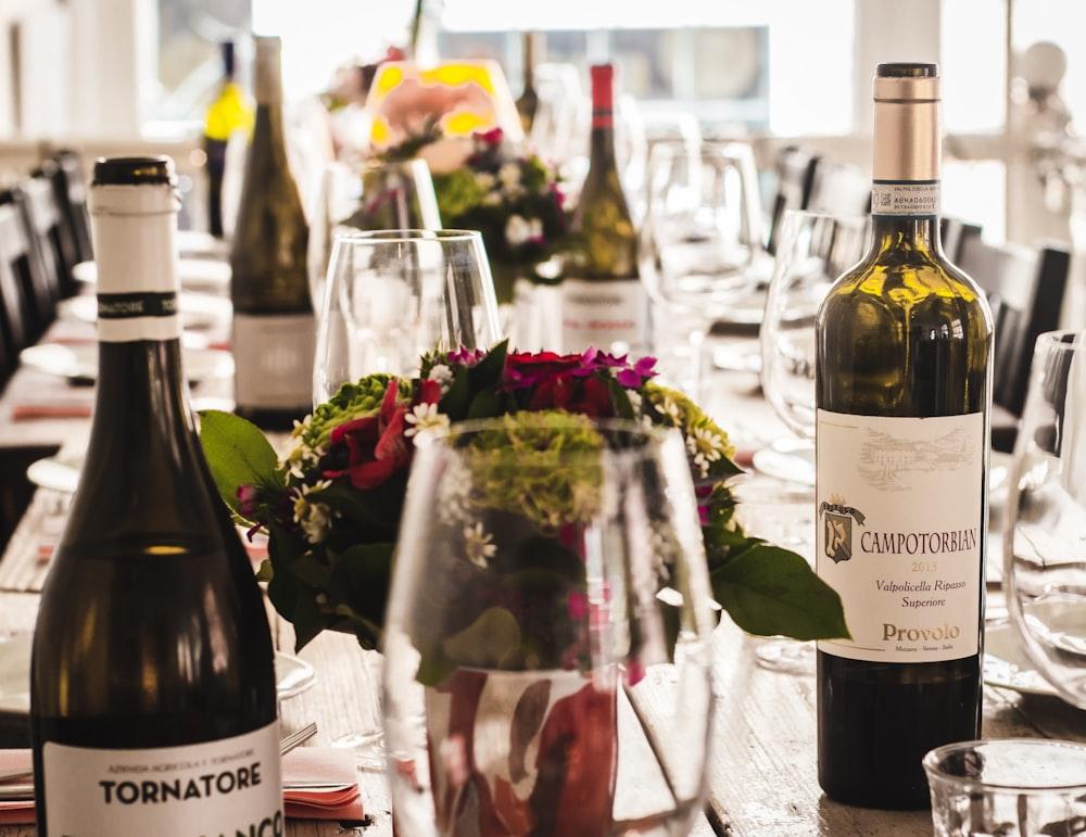 assorted-labeled wine bottles