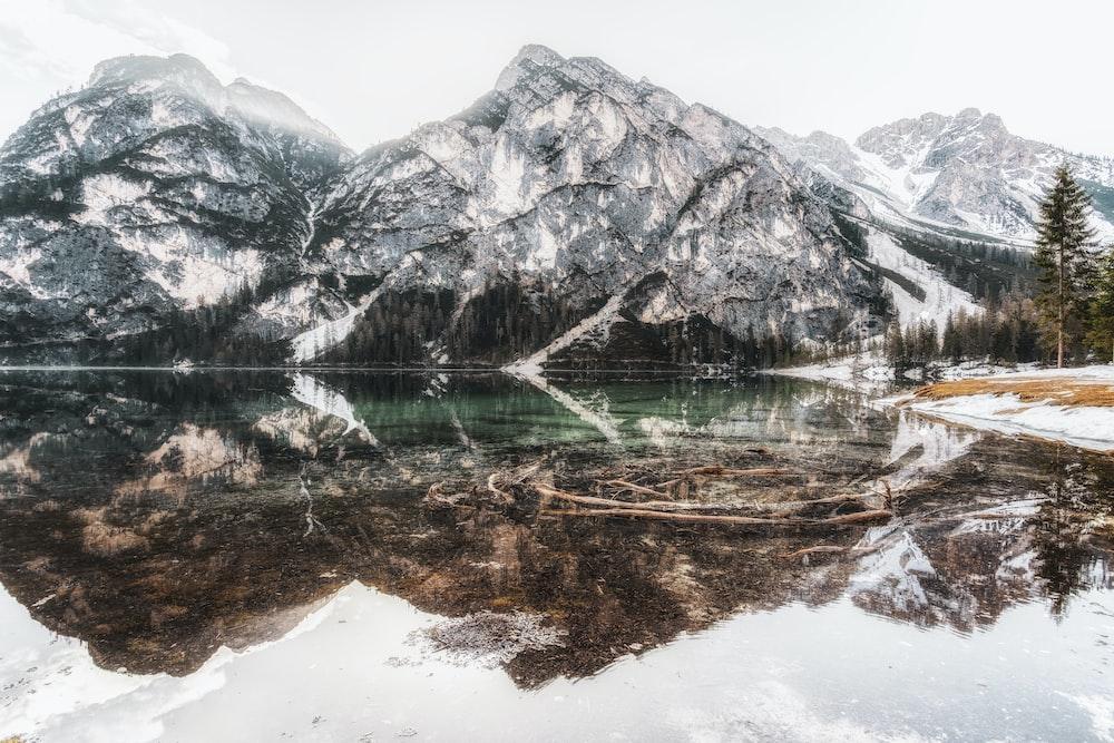 ice cap mountain near body of water