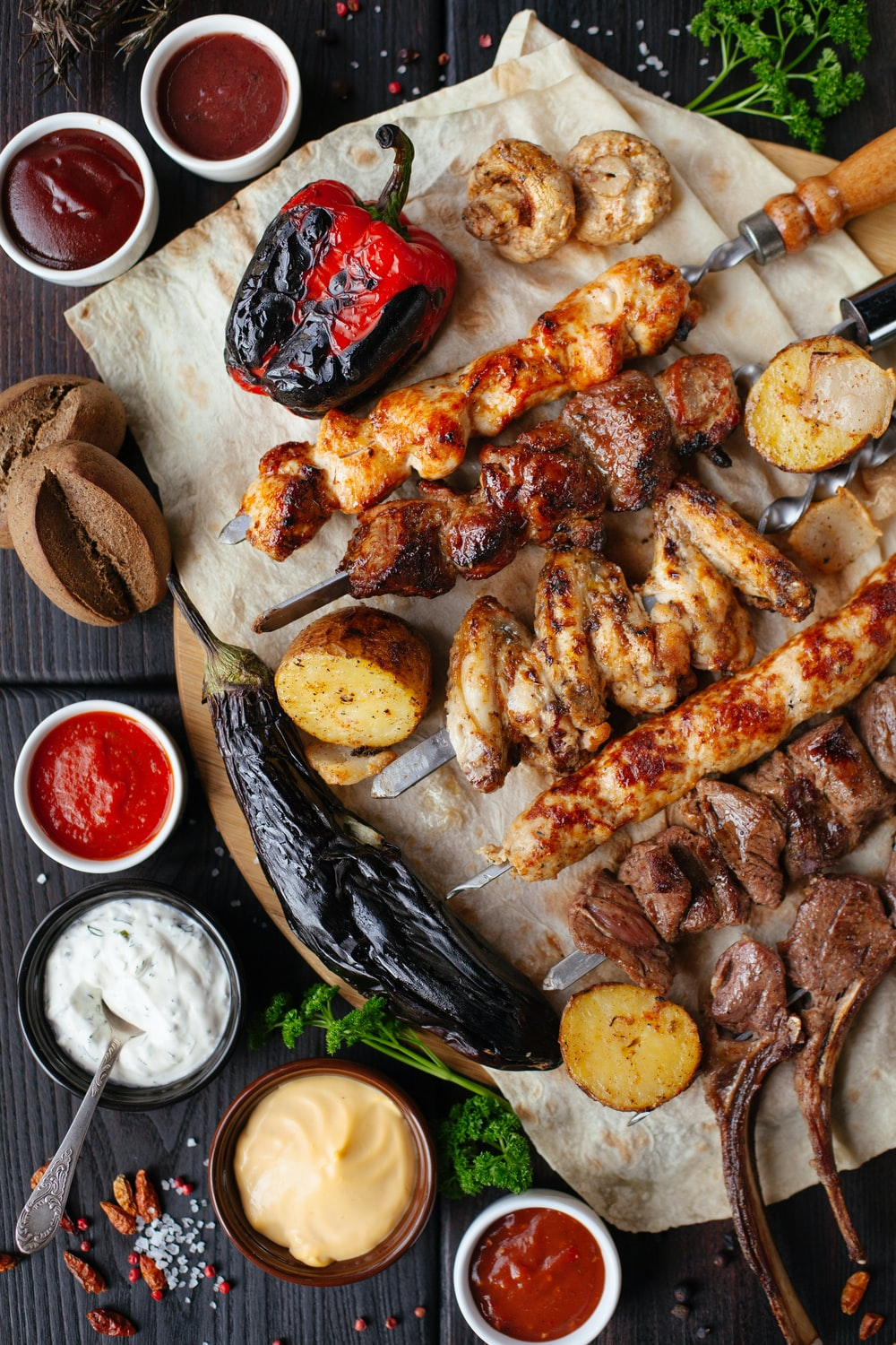 grilled meat and vegetable on the table