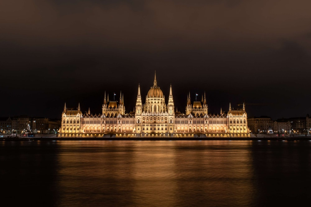 Hungarian Parliament building at night