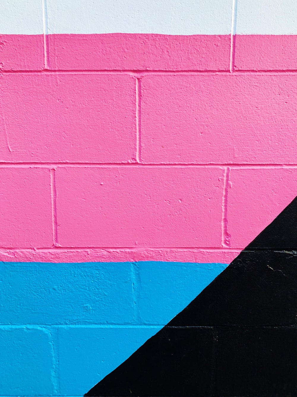 pink and blue painted wall