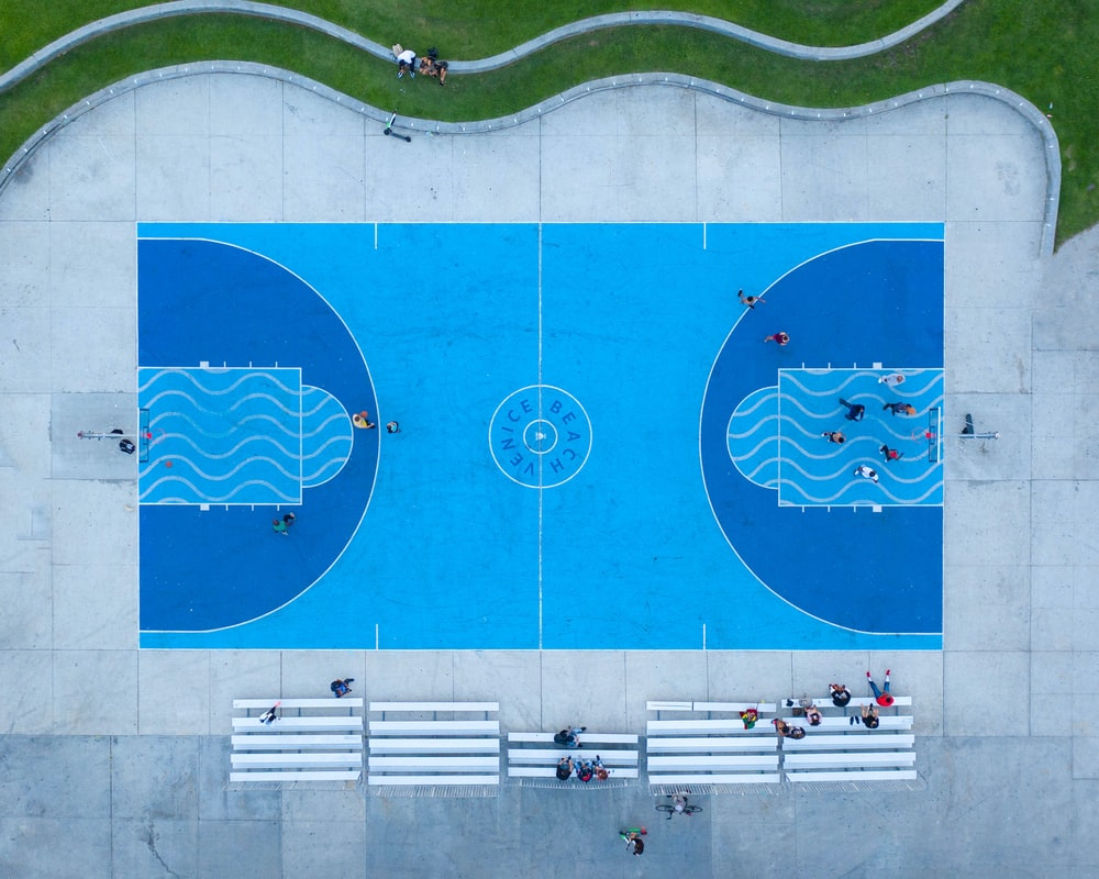 aerial of basketball court