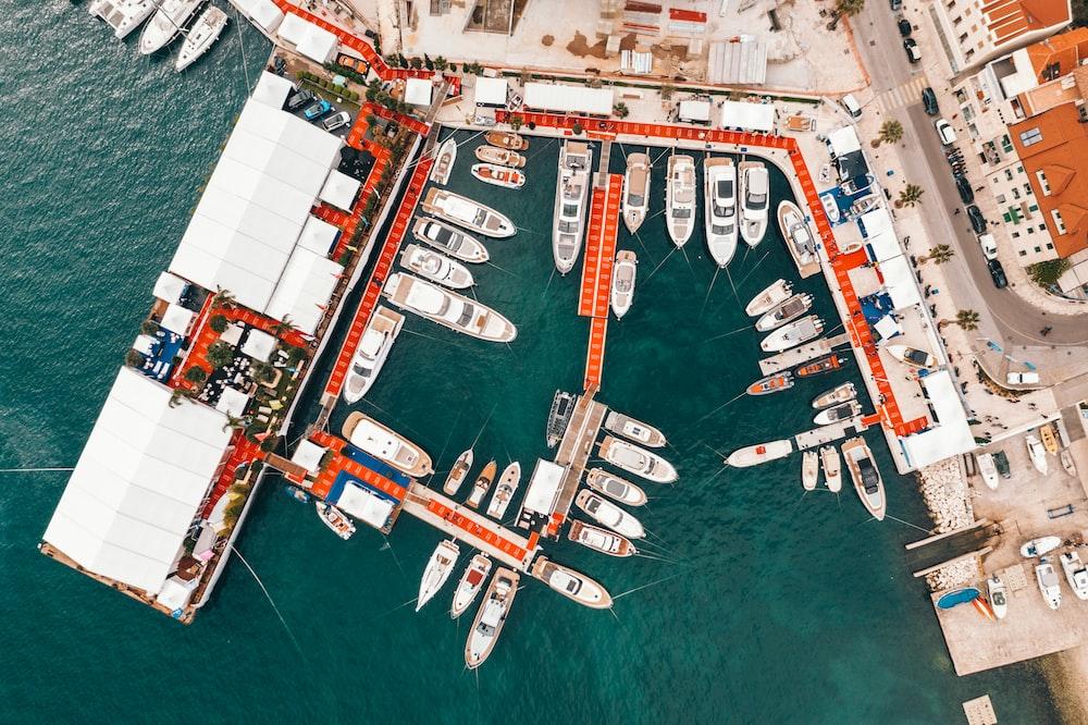 aerial view of yachts at marina