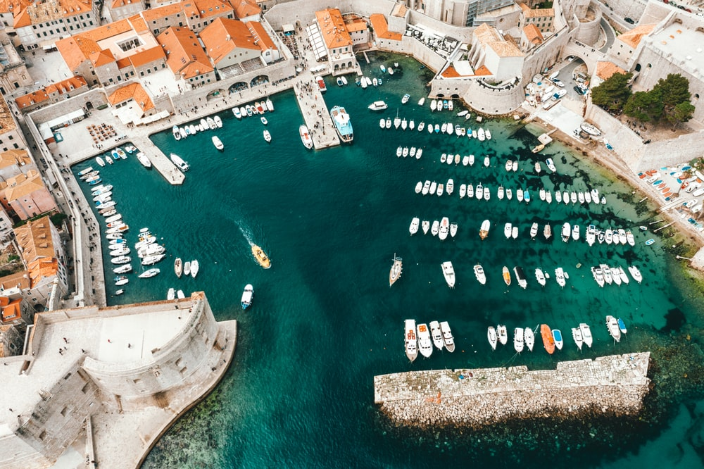 bird's-eye view photography of boats