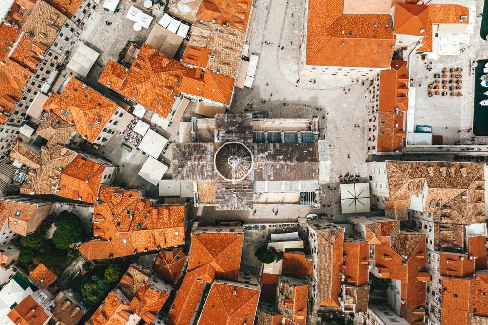 aerial view of houses with cathedral