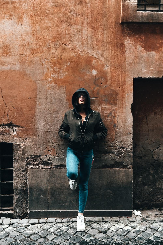 woman black hoodie